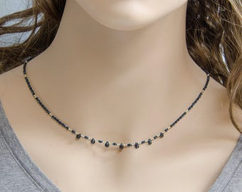 Delicate Gemstone Necklace, Blue Sapphire Briolettes w  Black Spinel & 925 Sterling Silver, Genuine Natural Sapphires, Sapphire Necklace