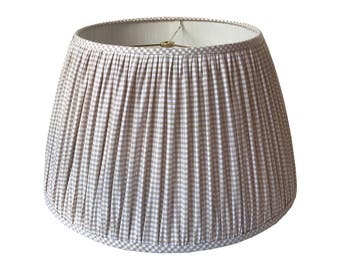 Gingham Pleated Lamp Shade, Gathered Lamp Shade, Beige Check Lampshade, Custom Lampshade, Ruched Lampshade, Shirred Lampshade, Made to Order