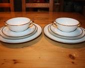 Altered Set for 2 Soup bowls 2 Dinner 2 Salad Plates Porcelain Lace Collar Face Lina Cavalieri Vintage Gold Rim