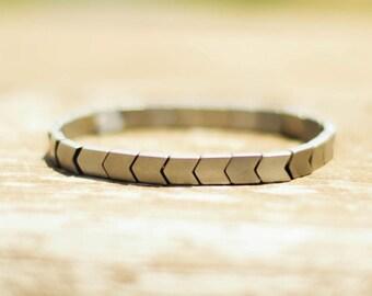 Hematite bracelet, flat gray beaded bracelet, silver tone bracelet, chevron beads stretch bracelet, birthday gift for her minimalist jewelry