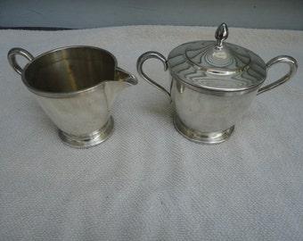Vintage Oneida Sugar and Creamer, Oneida Community Par Plate Silver Tone Sugar and Creamer Set, Sugar Dish, Creamer, Mid Century Sugar Cream