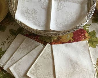 Six Vintage Ivory Cotton Floral Design Table Napkins