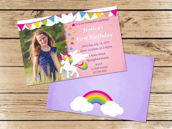 Unicorns and Rainbow Party Invitations Party Invitations PDF