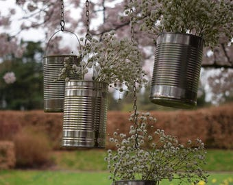 Set of 10 Double Upcycled Chain Hanging Tin Can Rustic Wedding Vases