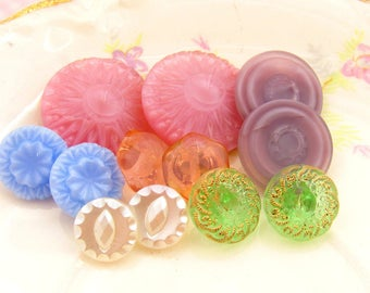 Vintage Pastel Czech Pressed Glass Button Mix Assortment Pink Lavender Green Blue and White - 12