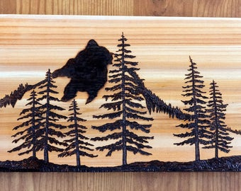 Woodburning Art, Pyrography, Mountains, Pine Trees, Landscape, Abstract Original