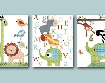 Green Blue Brown Lion Monkey Elephant Alphabet Canvas Giraffe Wall Art Baby Nursery Print Childrens Art Print Kids Wall Art Kid Art set of 3
