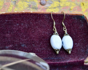 Ivory and Gray Stone Earrings