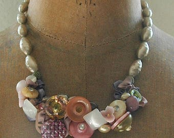 "Vintage Necklace - Reminiscent of Classic Miriam Haskell Design - ""Pearly Pink Neptune"""