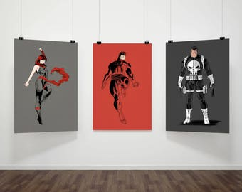 DareDevil, The Punisher and Elektra Art Prints, Collection, Marvel Comics, Superheroes, Defenders, Fan Art, 16x23 Poster Prints (Three)