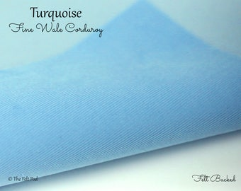 Turquoise Corduroy // Robert Kaufman Fabric Felt // Felt Backed Fabric // 21 Wale Corduroy // Fine Wale Cord // Baby Wale Cord