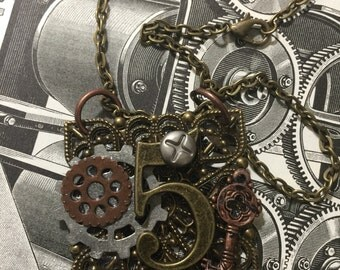 Journal Number Five  Steampunk Victorian Necklace Mixed Metal  Jewelry Unisex Wearable Art Mixed Media Handmade Necklace
