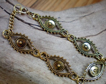 Golden evil eye protective  bracelet,Recycled jewelry,Handmade jewelry,Repurposed jewelry,Upcycled jewelry,Free USA shipping, Made in USA/MI
