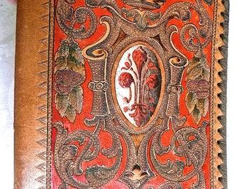 Tooled Leather Case - Book Cover - Italian - Portfolio - Nobeleman's Etuie - Heraldic - Document Case - Antique - Venice