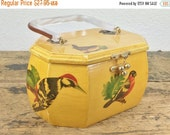 ON SALE Vintage Wooden Yellow Bird Purse with Lucite Handle And Decoupaged Birds