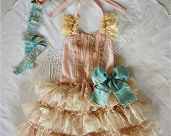 OOAK Ada Vintage Party Dress in Pink, Ivory & Bronze  for Birthday, Prop, Costume or Occasion Handmade