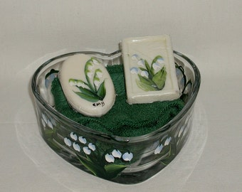 Handpainted Lily of the Valley Heart Dish Soap and Washcloth