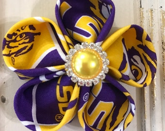 LSU Cotton Fabric Flower Two Way -Brooch and Hair Clip