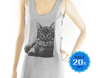 size S - Cat Love Shirt Cat Tank meow tee kitten top women graphic tank trendy clothing blogger tees quote tee gift women top