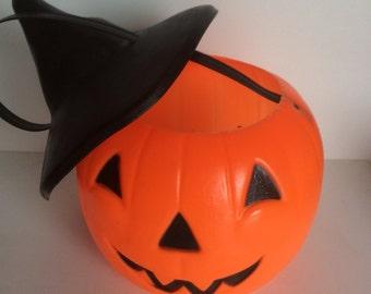 Vintage Halloween Pumpkin Candy Bucket with Hat Empire