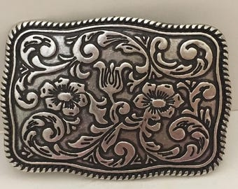 """Dan Post Floral Silver Tone Buckle Hipster Upcycle Jewelry Supply 3.5"""""""