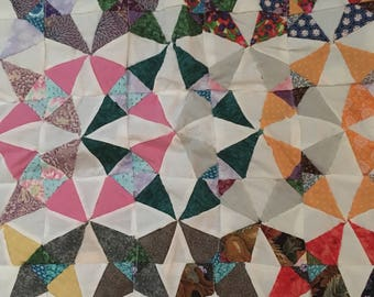"""20% Off Handcrafted Colorful Pinwheel Quilt Table Centerpiece 21"""" x 21"""""""