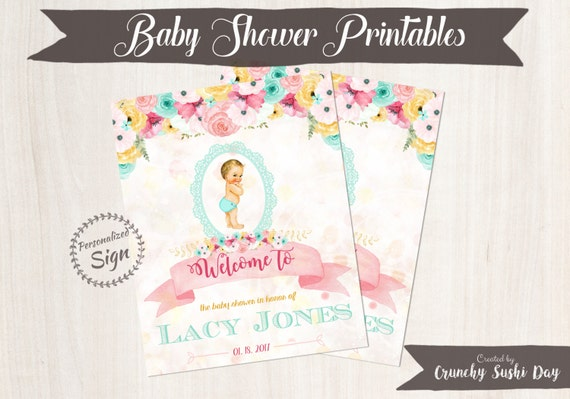 Personalized Baby Shower Welcome Sign, Welcome to the Baby Shower Poster, Baby Shower, Floral, Party, Decorations, Teal, Pink 001