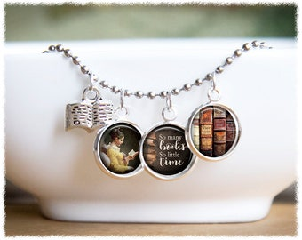 Book Necklace • Book Lover Gift • So Many Books • Book Pendant • Bibliophile • Gift For Reader • Literary Gifts
