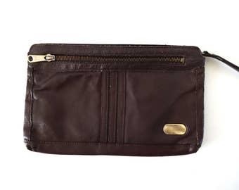 Vintage 1970s Brown Genuine Leather Clutch Wristlet Bag