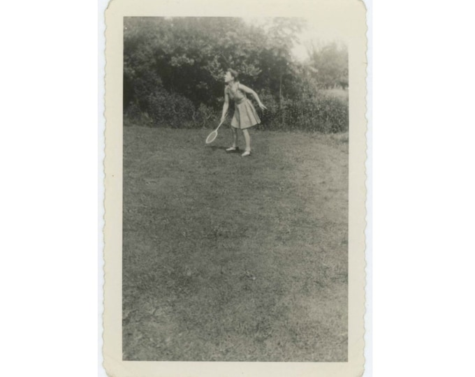 Vintage Snapshot Photo: Tennis, c1940s (611524)