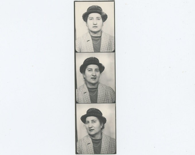 Vintage Photo Booth Strip, 1966: Woman in Hat & Coat (71543)