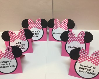 Minnie Mouse Food/Buffet labels