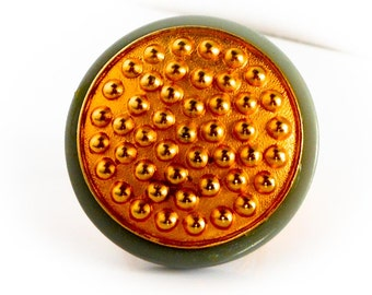Gold Button Lucite Ring        Adjustable   Modernist