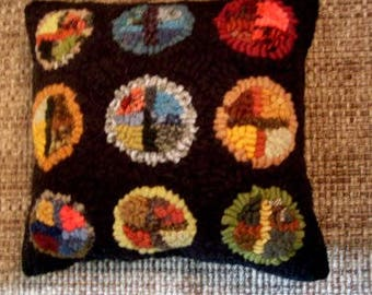 Primitive Folkart Stain Glass Penny Hooked Rug Pillow  Beaconhillcollect We ship Internationally