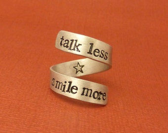 Hamilton Inspired - Talk Less. Smile More - A Hand Stamped Wrap Ring