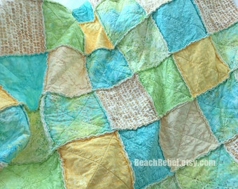 "Rag quilt throw pastel batiks in soft aqua, green, yellow and ivory rag quilt 63""x63"" shabby quilt"