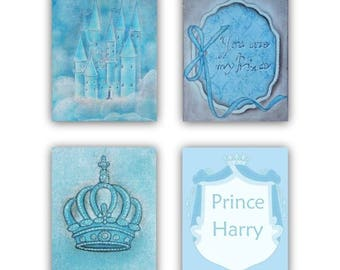 Prince Nursery, Royal Crown, Castle Wall Art, Baby Boy Nursery, Custom Name, SET 4, Blue, Boy Nursery decor, Little Prince, Kids wall art