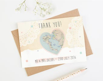 Wedding Thank You Card - Map Heart