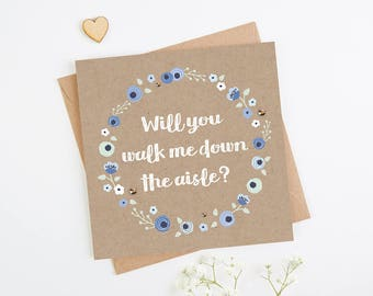 Will You Walk Me Down The Aisle Card Blue Kraft