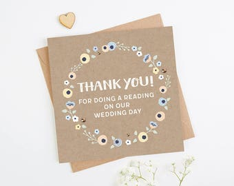 Thank You Reading Wedding Day Card
