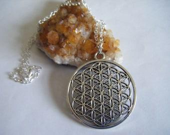 Spiritual Inspirational Flower of Life Necklace Sacred Geometry Wellness Oneness Cosmic Love Eco Yoga Meditation Universe Love Unisex