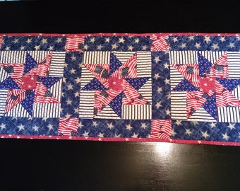red, white and blue table runner