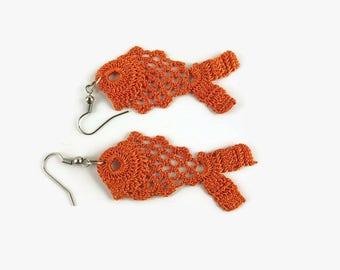 Orange Fish Earrings, Crochet Fish Earrings, Fun Jewelry,  Handmade ,Crocheted Jewelry