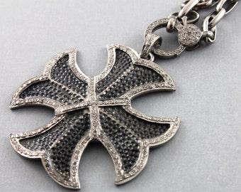Pave Diamond Pendant, Pave Cross Pendant, Diamond Cross Charm, Pave Religious, Pave Cross, Pave connector, Oxidized Silver. (DCH/PDT/1040)
