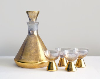 Vintage Gold Glitter Liquor Decanter Set with 4 Shot Glasses