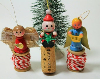 Upcycled Vintage Ornament set-Vintage ornaments-Handmade and Vintage Christmas ornaments-Set of 3-Angels and Santa Spool ornaments