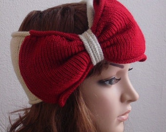 Large bow headband, knitted hair wrap, handmade turban headband with bow, knitted from acrylic yarn, many colours available