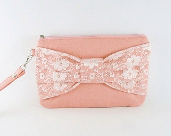 SUPER SALE - Peach Lace Bow Clutch - Bridal Clutch, Bridesmaid Clutch, Wedding Clutch, Evening Clutch, Zipper Pouch - Made To Order