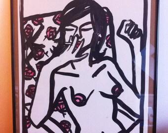 Dessin original, original artwork, smoking sexy girl fille nue sur papier 40x50