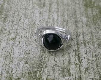 Gemstone ring Onyx, Boho ring, Hippiestyle, Wire ring, Gothic ring
